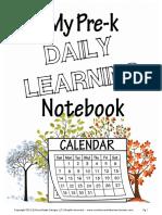 Pre k Daily Notebook