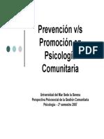 Prevención Versus Promoción