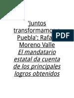 16-01-2016 Vértigo Político - 'Juntos Transformamos a Puebla',Rafael Moreno Valle
