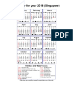 Year 2016 Calendar – Singapore
