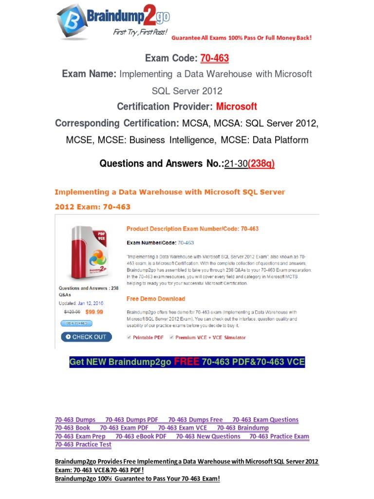 Pdfvcebraindump2go 70 463 exam questions 21 30 language pdfvcebraindump2go 70 463 exam questions 21 30 language integrated query microsoft sql server xflitez Gallery