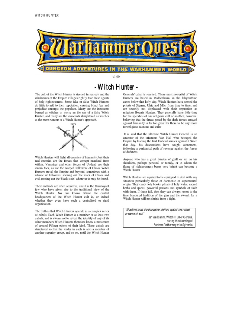 Warhammer Quest Characters] Witch Hunter | Leisure