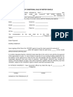 Deed of Conditional Sale of Motor Vehicle