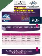 AWS CWI Training Calendar Schedule Mumbai 2016