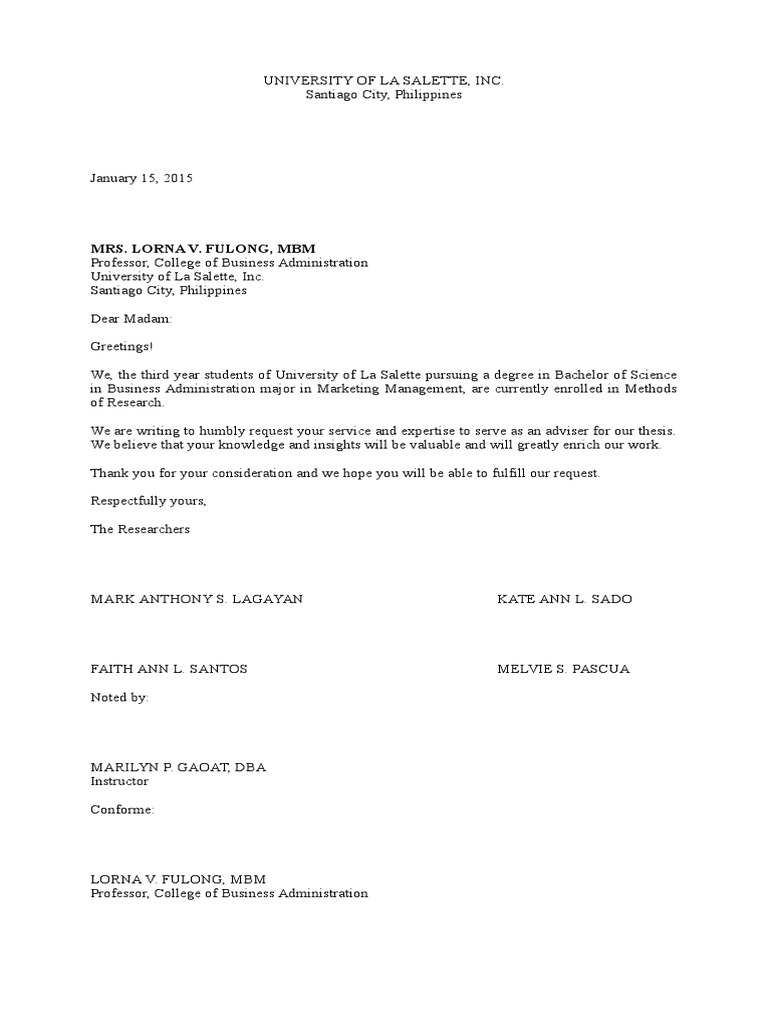 Sample Request Letter For Thesis Adviser