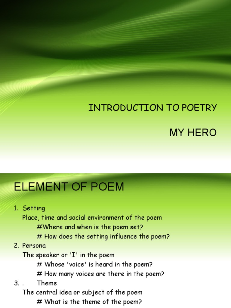 Introduction To Poetry Poetry