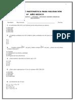 Evaluacion Matematica Para Validacion 6º Año Madrid