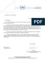 Letter from the International Criminal Court reg. a confirmation as to an analyzation of the situation reg. the Hamas