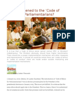 What Happened to the 'Code of Ethics' for Parliamentarians