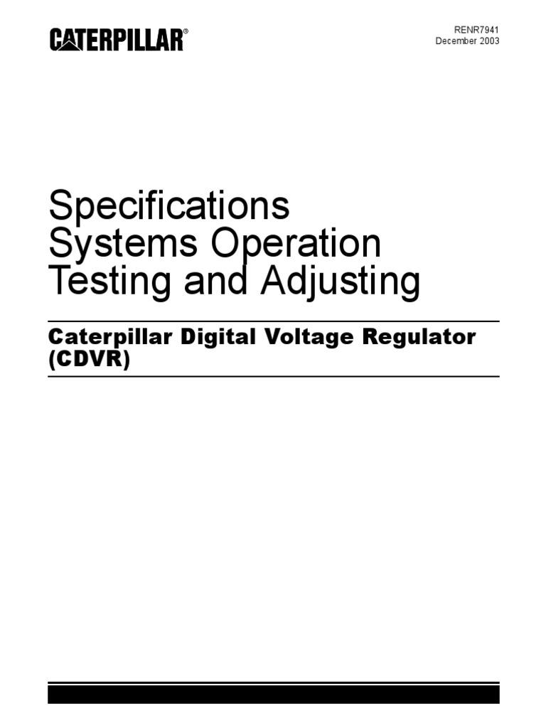 renr7941 00 caterpillar digital voltage regulator manual Alternator Regulator Wiring Diagram  Generator Voltage Regulator Wiring Diagram Caterpillar Tachometer Wiring Diagram Club Car Voltage Regulator Wiring
