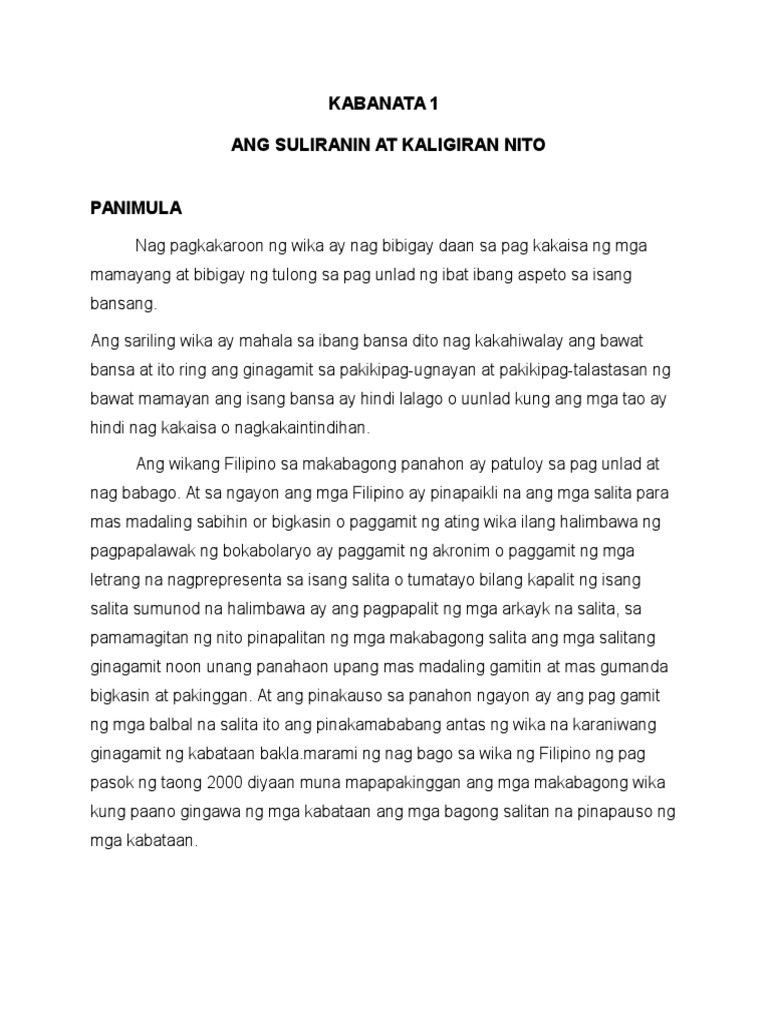 paggamit ng wikang filipino thesis