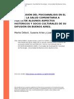 Marta Deboli, Susana Arias y Juan Fco (2004). La Inclusion Del Psicoanalisis en El Area de La Salud Comunitaria a Partir de Algunos Aspec (..)