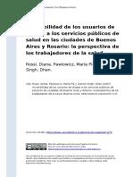 Rossi, Diana, Pawlowicz, Maria Pia y (..) (2007). Accesibilidad de Los Usuarios de Drogas a Los Servicios Publicos de Salud en Las Ciudad (..)