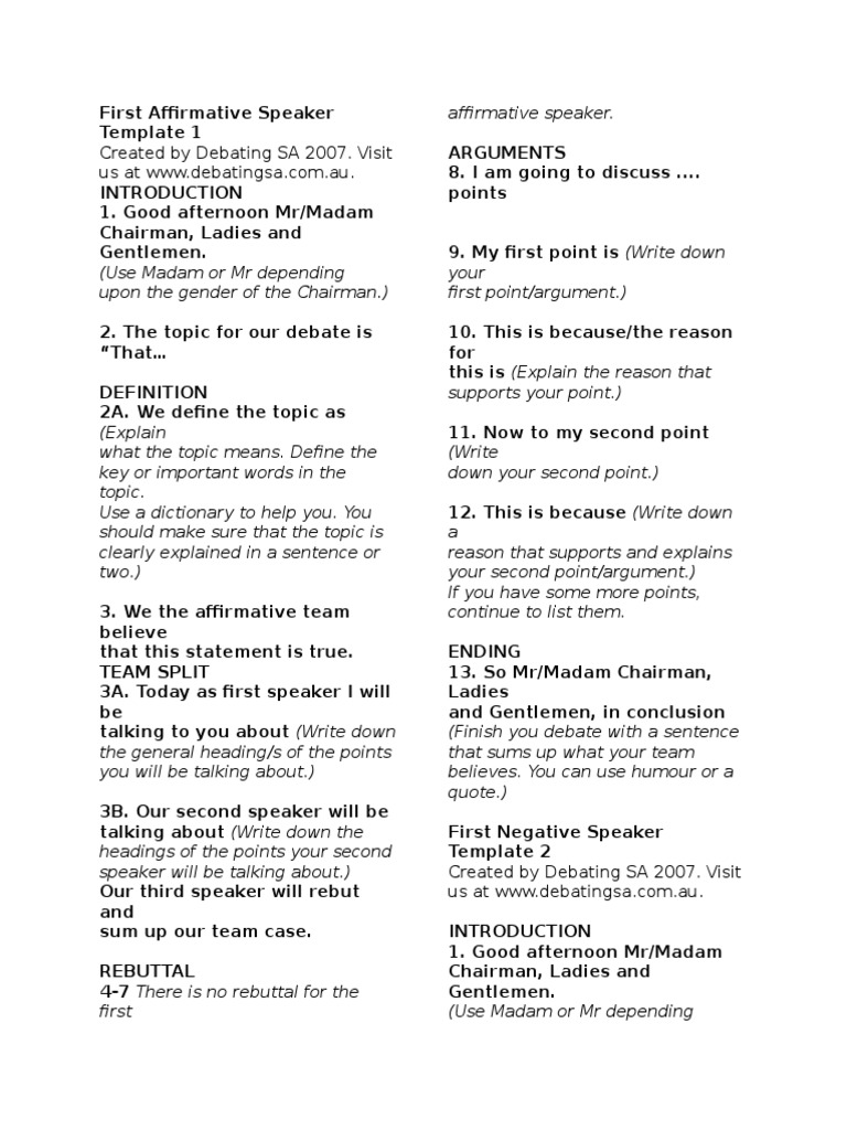 Debate opening statement template debate format example solid speech structure template argument epistemology maxwellsz