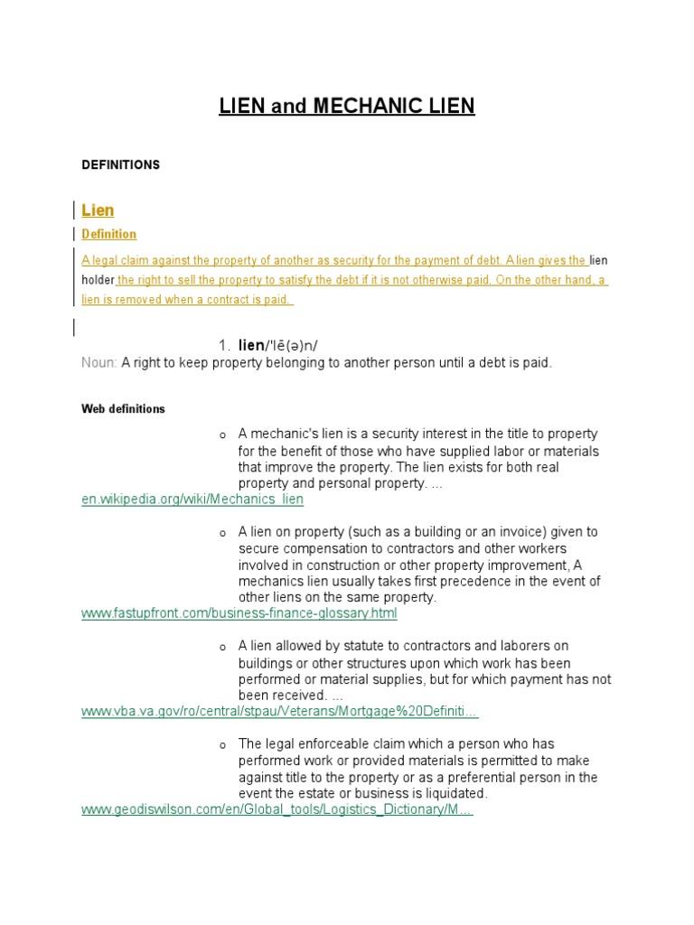 Definition Of Mechanic's Lien | Lien | Business Law