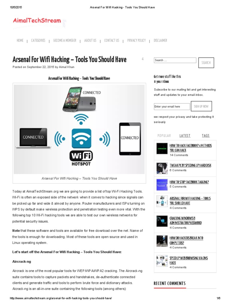 Arsenal for Wifi Hacking - Tools You Should Have | Wi Fi | Online