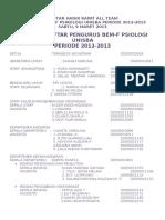 Struktur Organisasi BEM F Psikologi Unisba