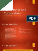 Partnership and Corporation Course Orientation