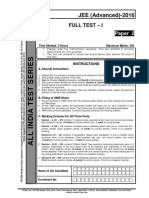 AITS FT I (Paper 2) PCM(Ques) JEE(Advanced)