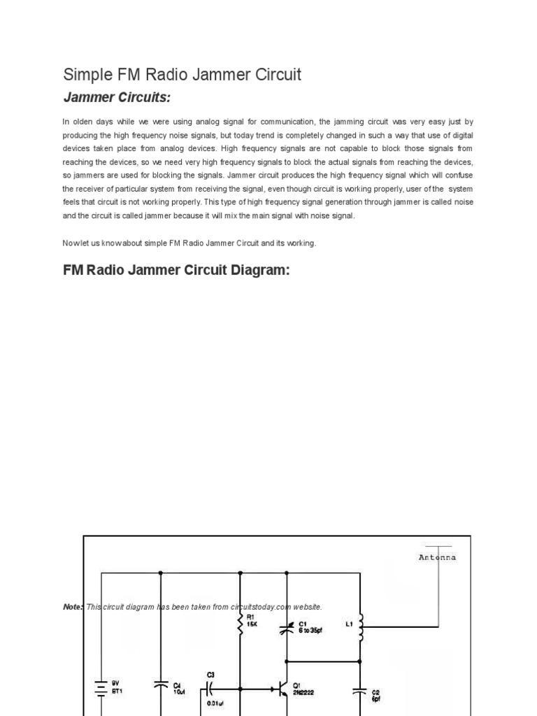 Simple Fm Radio Jammer Circuit