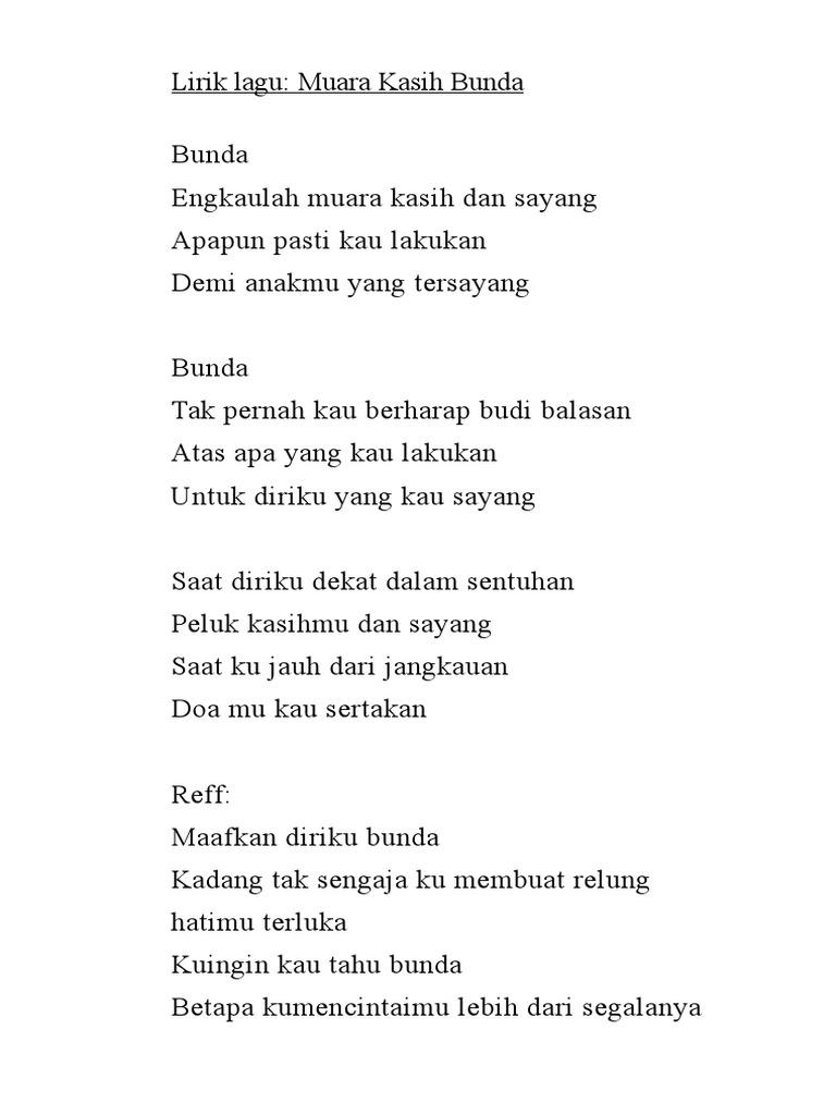 Not Lagu Bunda Engkaulah Muara Kasih