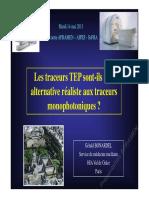 Les Traceur TEP Sont Ils Une Alternative Aux Traceurs Monophotoniques Evolutions Technologiques Apramen Mai 2013 G Bonardel