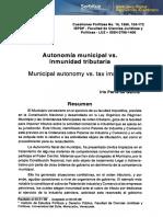 Autonomia Municipal vs Inmunidad Tributaria