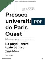 Le Livre Et Ses Espaces - La Page_ Entre Texte Et Livre