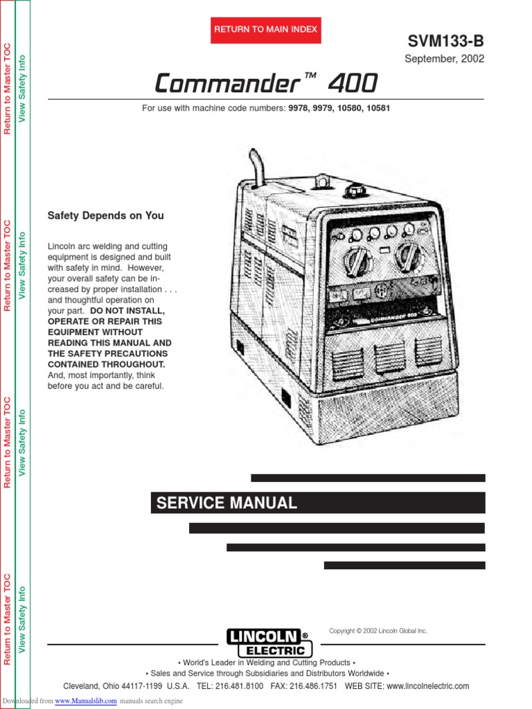 Commander 400 Svm133b Welding Ac Power Plugs And Sockets Lincoln K870 Wiring Diagram
