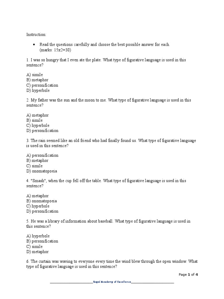 Workbooks personification worksheets pdf : Exam on Figurative Language | Metaphor | Linguistics