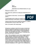 Octavio Paz, Comentarios a Su Opinión Poética. Por Juan Cú