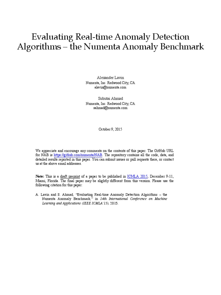 Evaluating Real-time Anomaly Detection   Real Time Computing