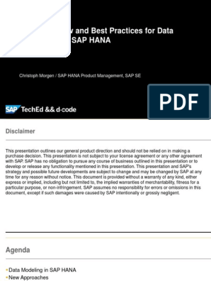 Best Practice for Data Modeling with HANA pdf | Sql