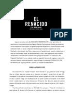 El Renacido (the Revenant) Press Book