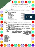 Activity Worksheet in Science..