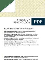 Fields of Psychology