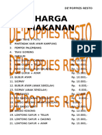 PRICE LIST HARGA MAKANAN MINUMAN DE POPPIES RESTO.doc
