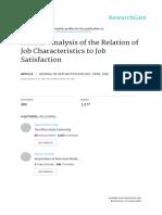 Job Satisfaction and Job Characteristics Meta Analysis