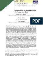 Judge, Heller & Klinger, 2008 Dispositional Features and JSS