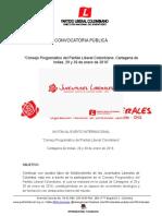 """""""Consejo Programático del Partido Liberal Colombiano, Cartagena de Indias, 29 y 30 de enero de 2016""""  Consejo Programático Partido Liberal 20012016"""
