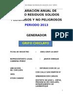 Declaración Anual de Manejo de Residuos Solidos Año 2013