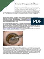 Doctores Del INO Efectuaron 18 Trasplantes De Córnea