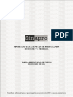 SINAPRO - Tabela Referencial de Custos e Serviços Internos 2004 - Distrito Federal