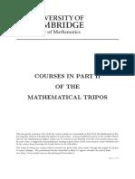 Cambridge Mathematical Tripos Part II course guide