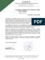Rechazo Presencia de Policías y Militares en La via Macuma- Taisha Morona Santiago