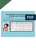 Cronograma de Evaluaciones II Periodo 2010[1]