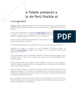 Presidente Toledo presentó a candidatos de Perú Posible al Congreso