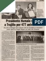 06-03-12 Presidente Humala saludó a Trujillo por 477 aniversario