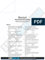 Manipal UGET Medical 2011 Previous Year Paper With Solutions