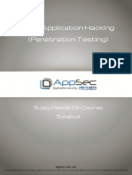 Web Application Hacking Penetration Testing 5 Day Hands on Course Syllabus v2.0 New